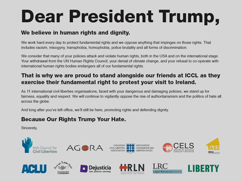 Eleven INCLO member organizations condemn the US policies in violation of human rights in an open letter to the US president Donald Trump published on 6 June 2019 in The Irish Times, during Trump's official visit to Ireland.
